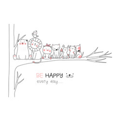 Cute baanimal with tree cartoon hand drawn vector