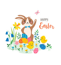 Cute easter greeting card design vector