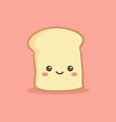 cute slice loaf bread cartoon vector image