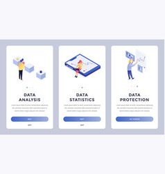 digital information isometric landing page set vector image