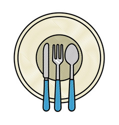 dish with cutleries icon vector image