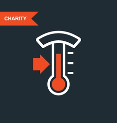 Donation thermometer - charity and telethon icon vector image