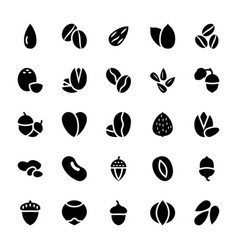 Dry fruits glyph pack vector