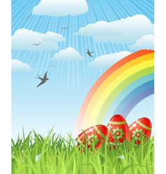 Easter with eggs birds and rainbow vector