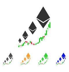 ethereum growth chart icon vector image