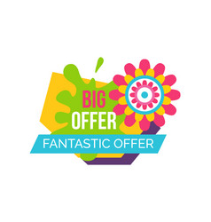 fantastic offer springtime label abstract flower vector image