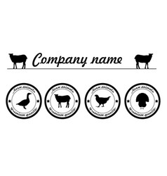 Farm animals silhouettes animals farm logo vector