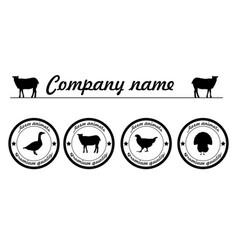 Farm animals silhouettes animals logo vector