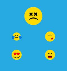 flat icon emoji set of cold sweat love cross vector image