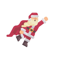 flying santa claus in a superhero cape vector image