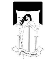 Four swords woman sleeping on a white bed vector