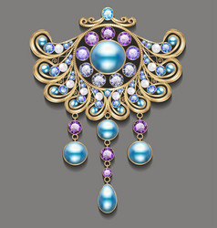 gold brooch with pearls and precious stones vector image