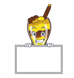 Grinning with board mangonada fruit character vector