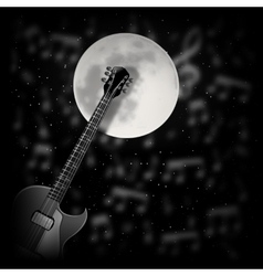 Guitar the background of the moon vector image