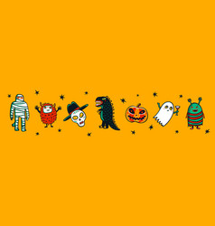 halloween horizontal banner with funny monsters vector image