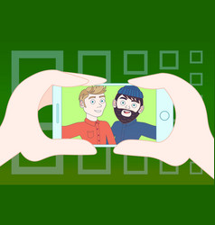 hand holding smart phone taking selfie photo of vector image