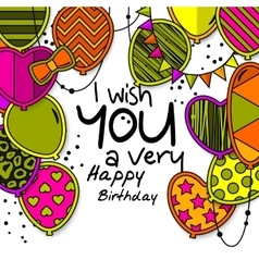 Happy birthday greeting card Patterned balloons vector image