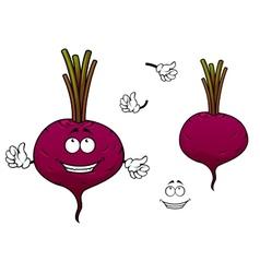 Happy cartoon beetroot vegetable character vector image