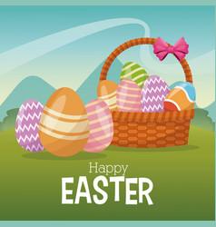happy easter card basket egg ornament landscape vector image