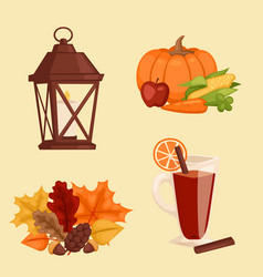 Happy thanksgiving day icons set for family vector