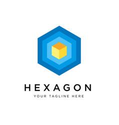 hexagon logo concept creative minimal design vector image