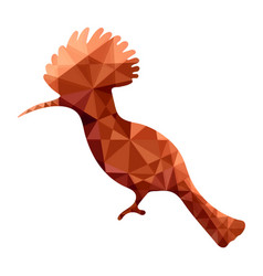 hoopoe in low poly orange vector image