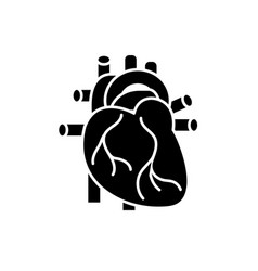 human heart black icon sign on isolated vector image