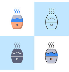 humidifier icon set in flat and line styles vector image