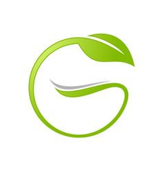initial g lettermark leaf circle symbol design vector image
