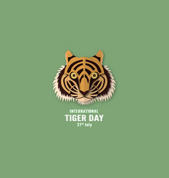 International tiger day with face and number in vector