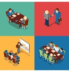 Isometric 3D business people icons Meeting job vector