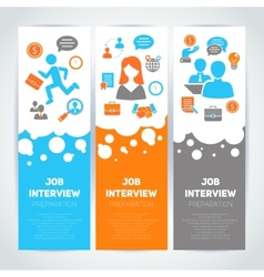 Job interview flat banner set vector image