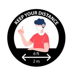 keep your distance sign new normal social vector image
