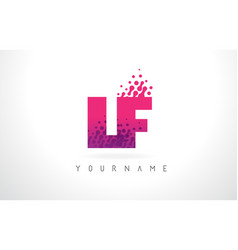 Lf l f letter logo with pink purple color and vector