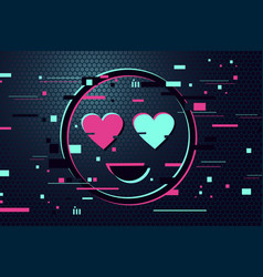love icon glitch style background vector image