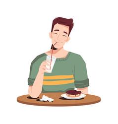 Man enjoying dessert cake and milkshake on table vector