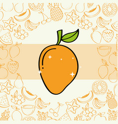 Mango fruits nutrition background pattern drawing vector