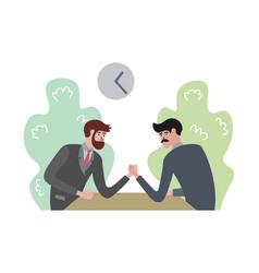 men compete in arm wrestling vector image