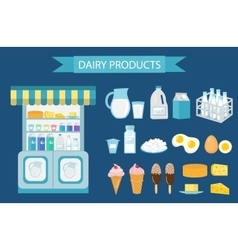 Milk products icon set flat style isolated on vector