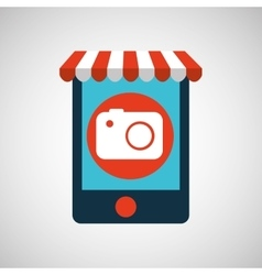 Mobile phone e-commerce and photographic camera vector
