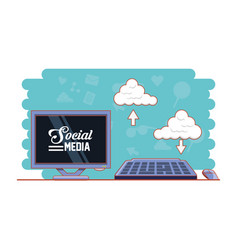Monitor computer with social media icons vector