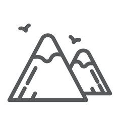 mountains line icon nature and landscape rock vector image