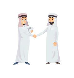 Muslim business men shaking hands vector