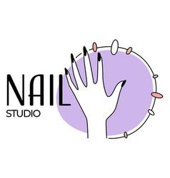 nail studio or salon for fingernails beauty emblem vector image