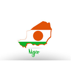 niger country flag inside map contour design icon vector image