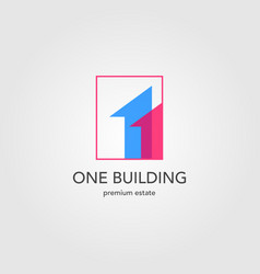 one building house logo overlapping first real vector image