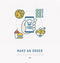 Order food online via mobile app vector