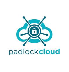 padlock cloud logo vector image