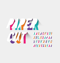 paper cut typography vector image