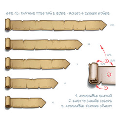 papyrus tittle tag five sizes - rolled and corner vector image